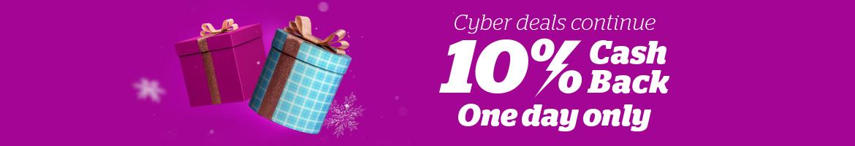 Shop More Cyber Deals With 10% Cash Back