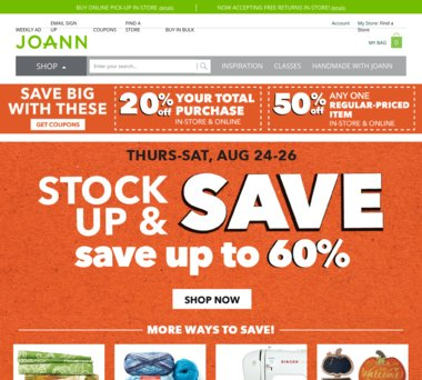 joann com Coupons, Promo Codes & 1 0% Cash Back
